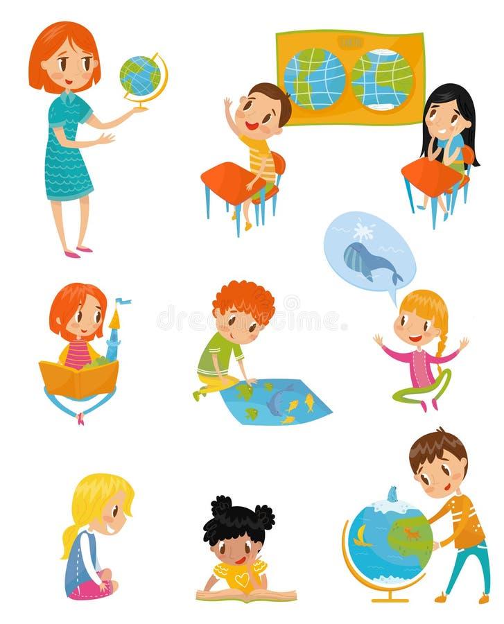 在地理教训集合、学龄前活动和幼儿期教育概念的孩子导航在白色的例证 向量例证