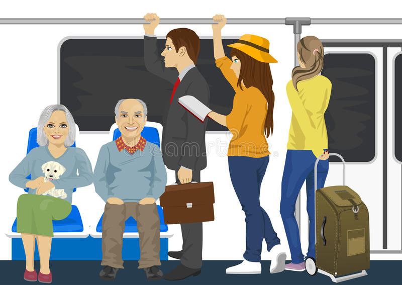 在地铁地铁里面的不同的人 库存例证
