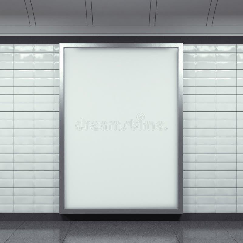 在地铁车站的垂直的广告牌 库存图片