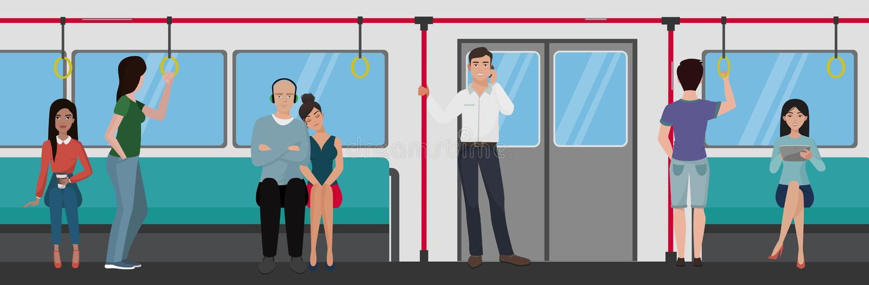 在地铁里面的人们 人地铁运输概念 库存例证