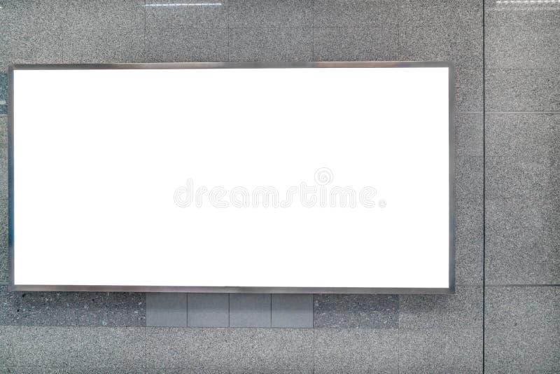 在地铁驻地的广告牌横幅标志嘲笑显示 免版税库存图片