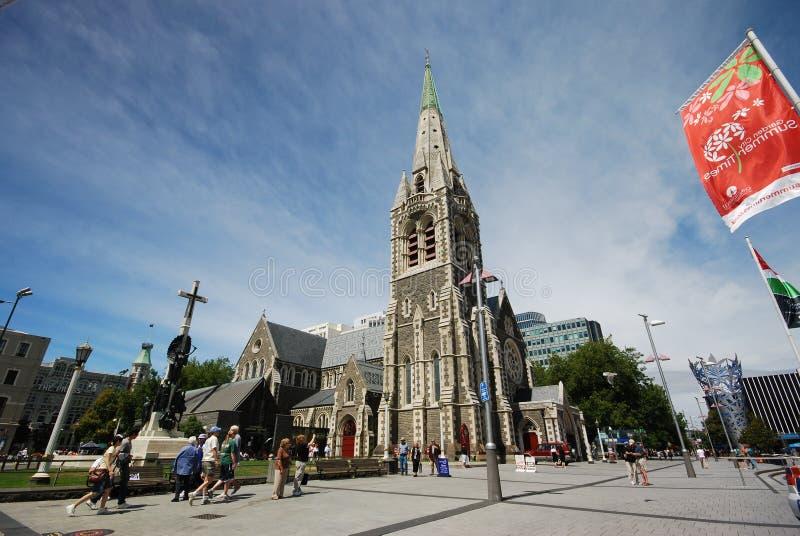 在地震前的克赖斯特切奇大教堂 库存照片