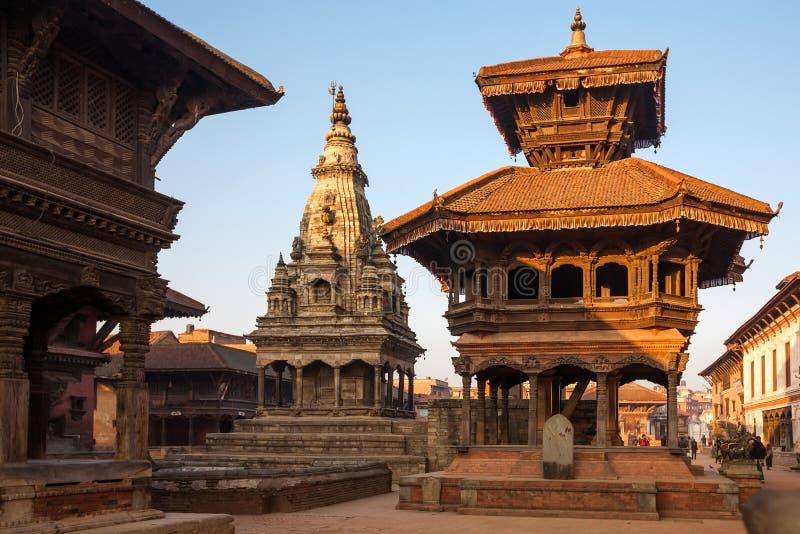 在地震前的Bhaktapur市,尼泊尔 免版税图库摄影