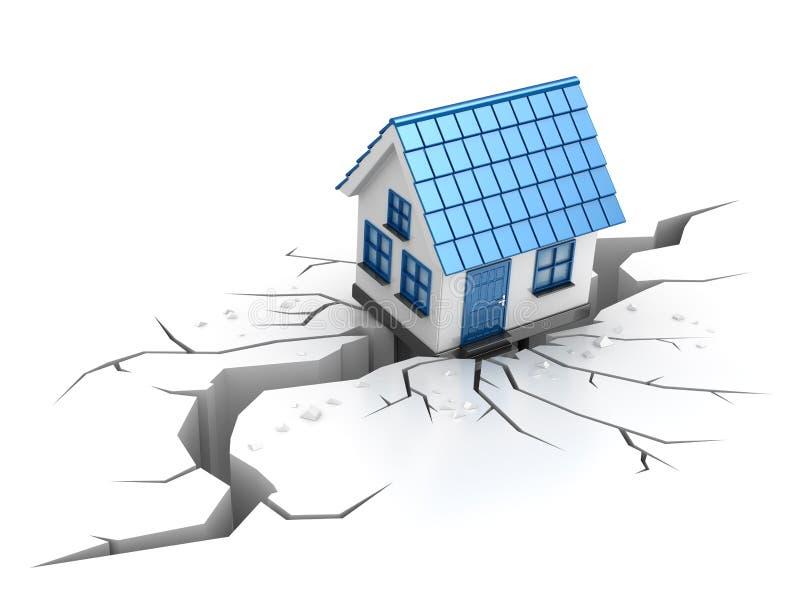 在地震期间,房子无法裂缝 库存例证