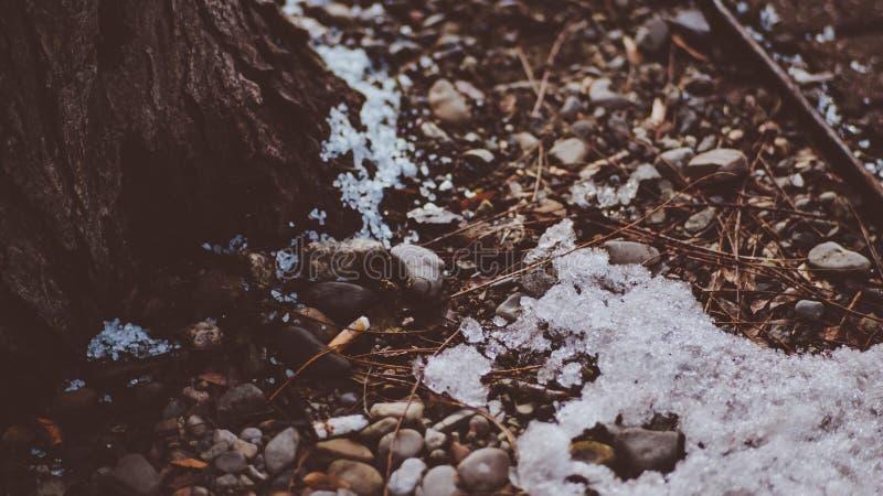 在地面上的一个角落在一老镇Coeur d ` Alene爱达荷的冷的冰冷的斯诺伊 免版税库存照片