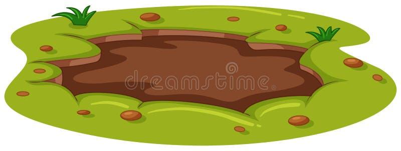 在地面上的泥泞的水坑 向量例证