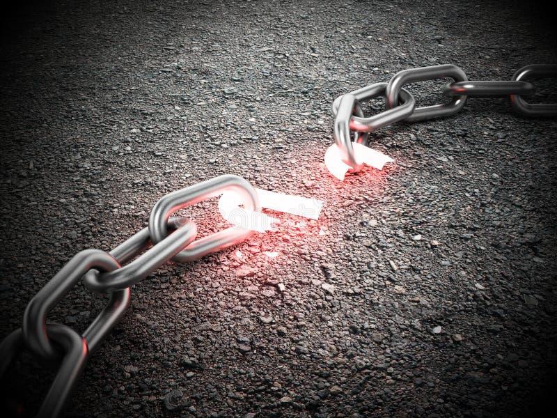 在地面上的被阐明的残破的链部分 3d例证 皇族释放例证