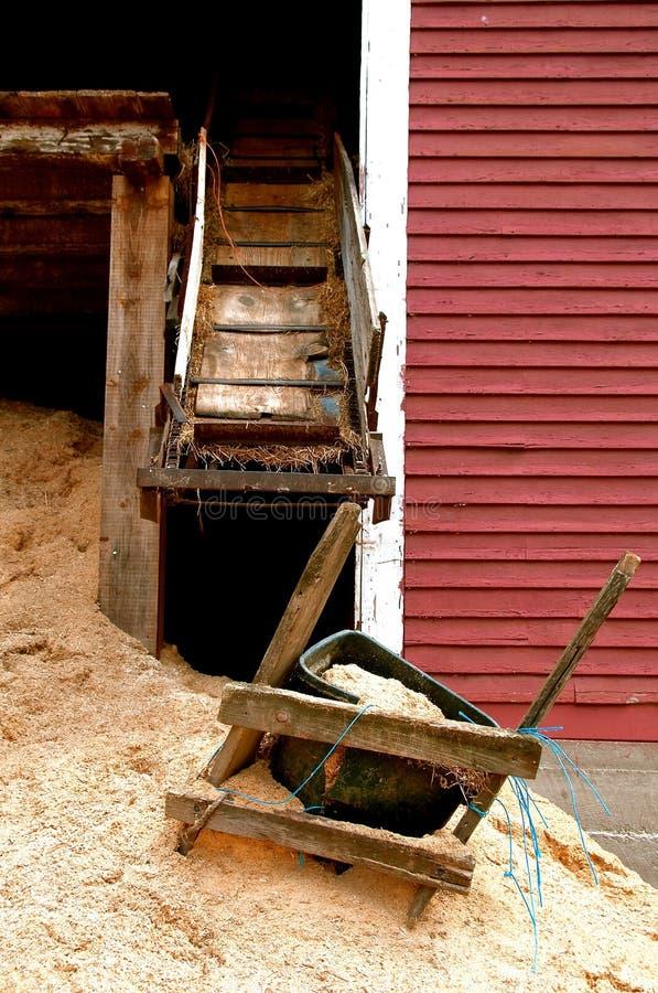 在地面上碎饲料堆的堆 库存照片