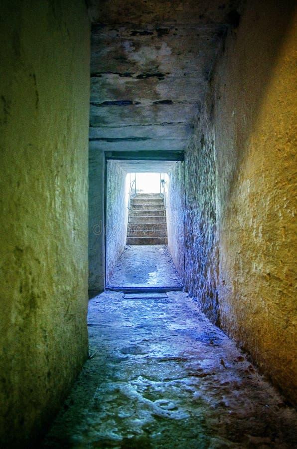 在地面下的军用隧道 可怕蠕动的地下室 库存照片