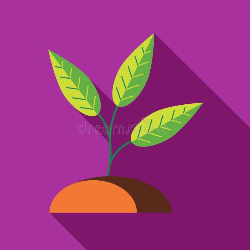 在地面象的绿色新芽,平的样式 库存例证