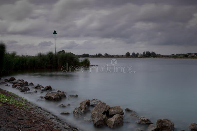在坎彭附近的河沿IJssel 图库摄影