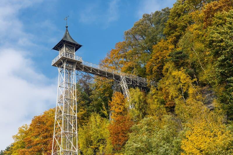 历史电梯坏Schandau,德国 免版税库存照片