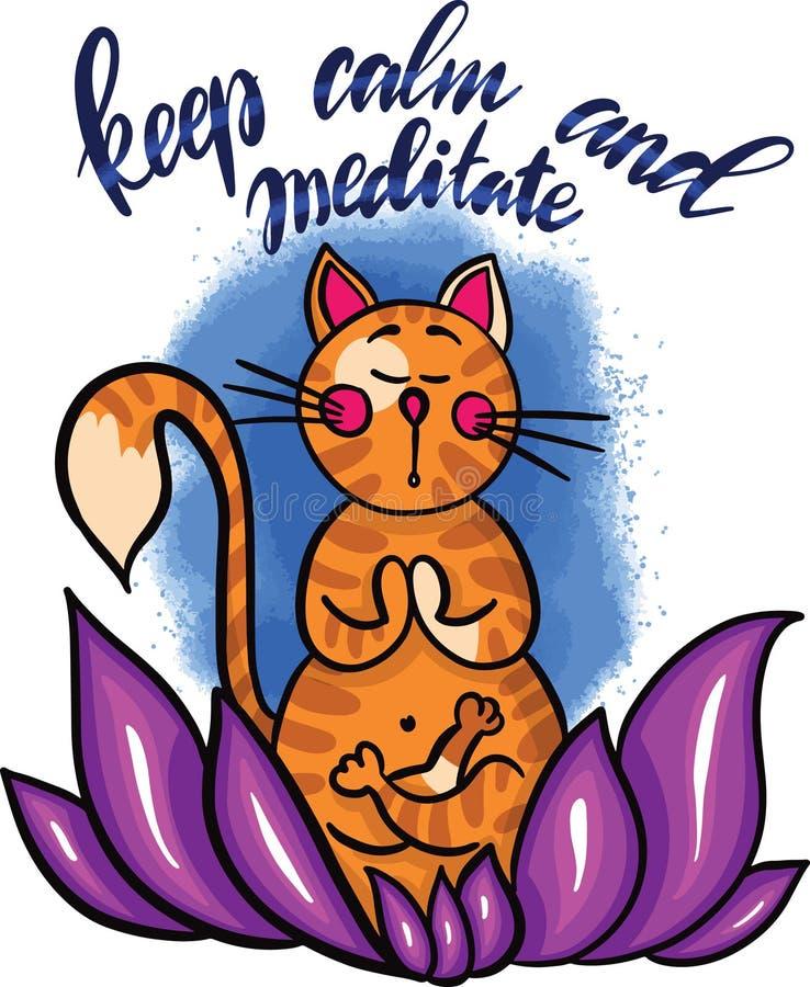 在坐在莲花的凝思的手拉的逗人喜爱的动画片猫 在上写字保留安静并且思考 向量 库存例证