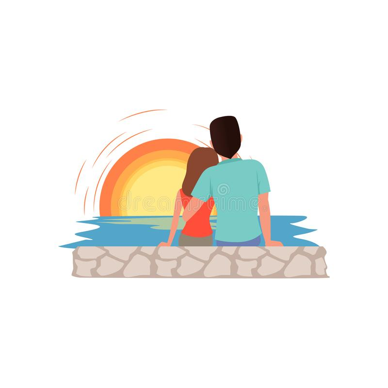在坐海滩和敬佩日落、男人和妇女的爱的夫妇在暑假时导航例证  皇族释放例证