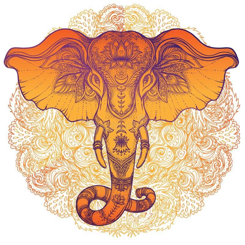 在坛场的美丽的手拉的部族样式大象 Colorfu 皇族释放例证