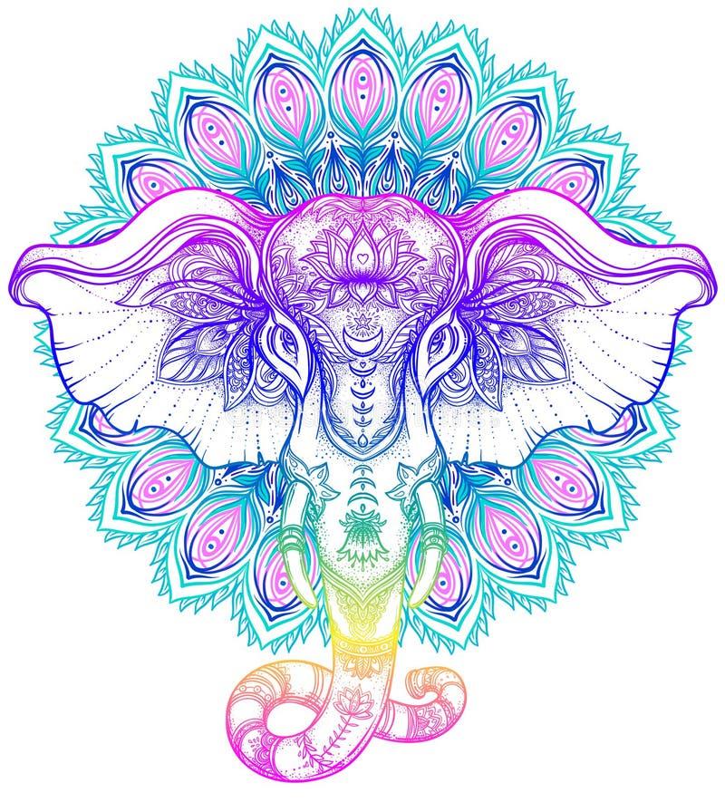 在坛场的美丽的手拉的部族样式大象 Colorfu 向量例证