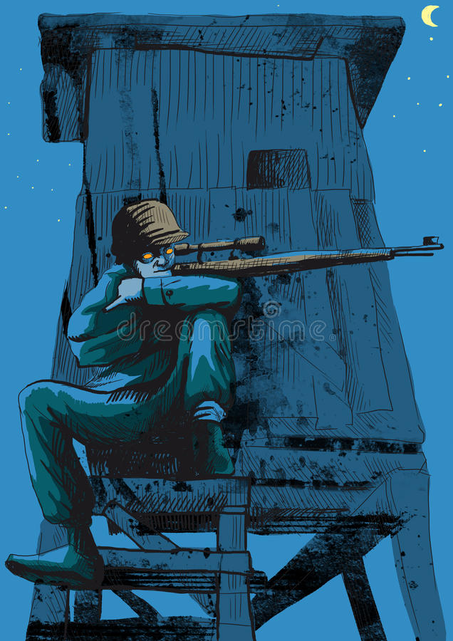 狙击手 向量例证