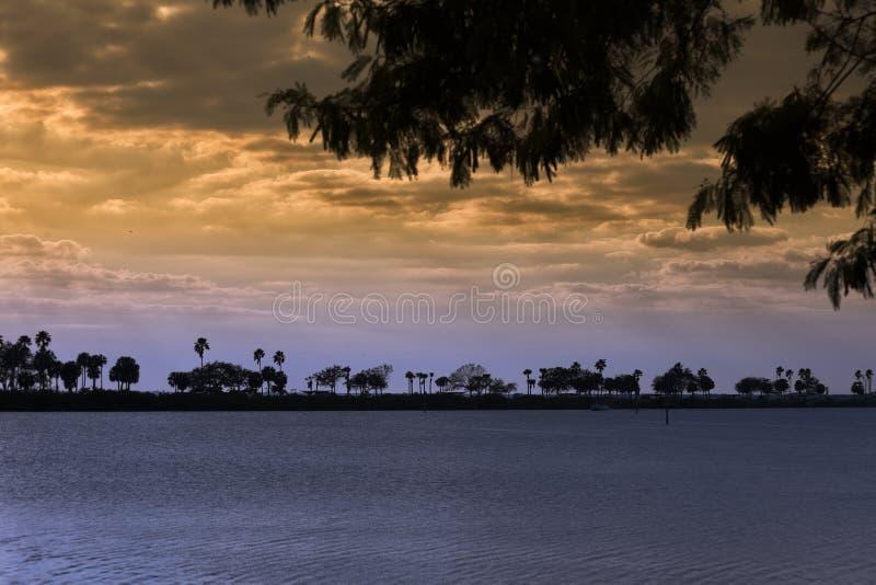 在坦帕湾的日落 库存图片