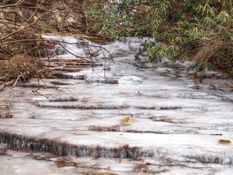 在垂悬的岩石国家公园的冻小瀑布 免版税库存图片