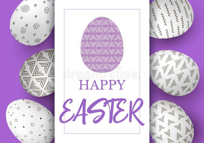 在垂直线的复活节彩蛋与在紫色背景的典雅的装饰品 简单的北欧装饰品 愉快的复活节 库存例证