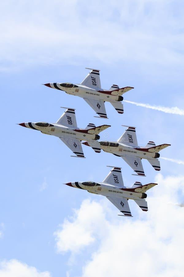在垂直的图片的雷鸟喷气机 图库摄影
