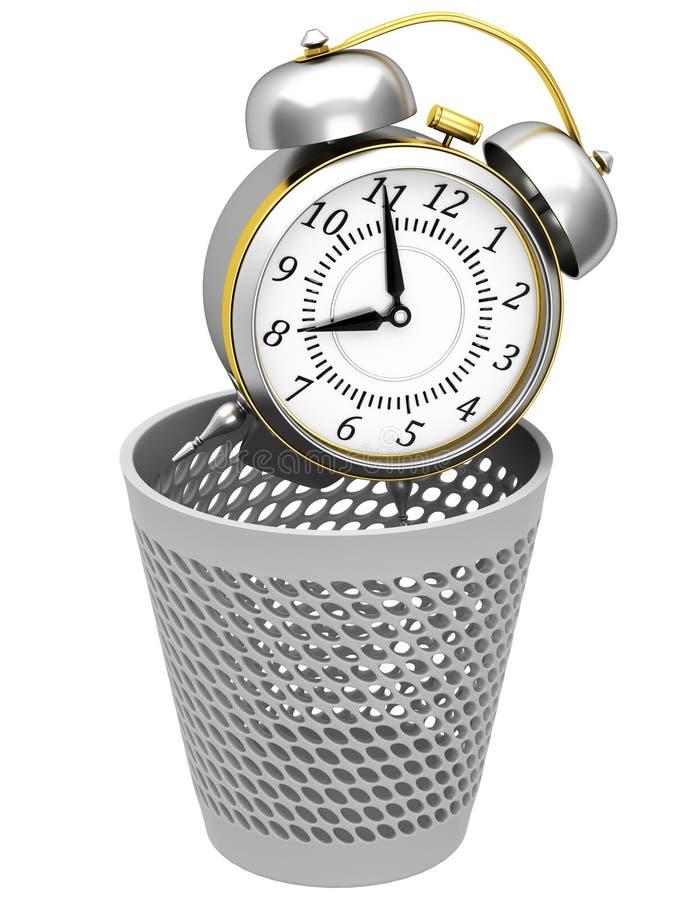 在垃圾桶的闹钟 皇族释放例证