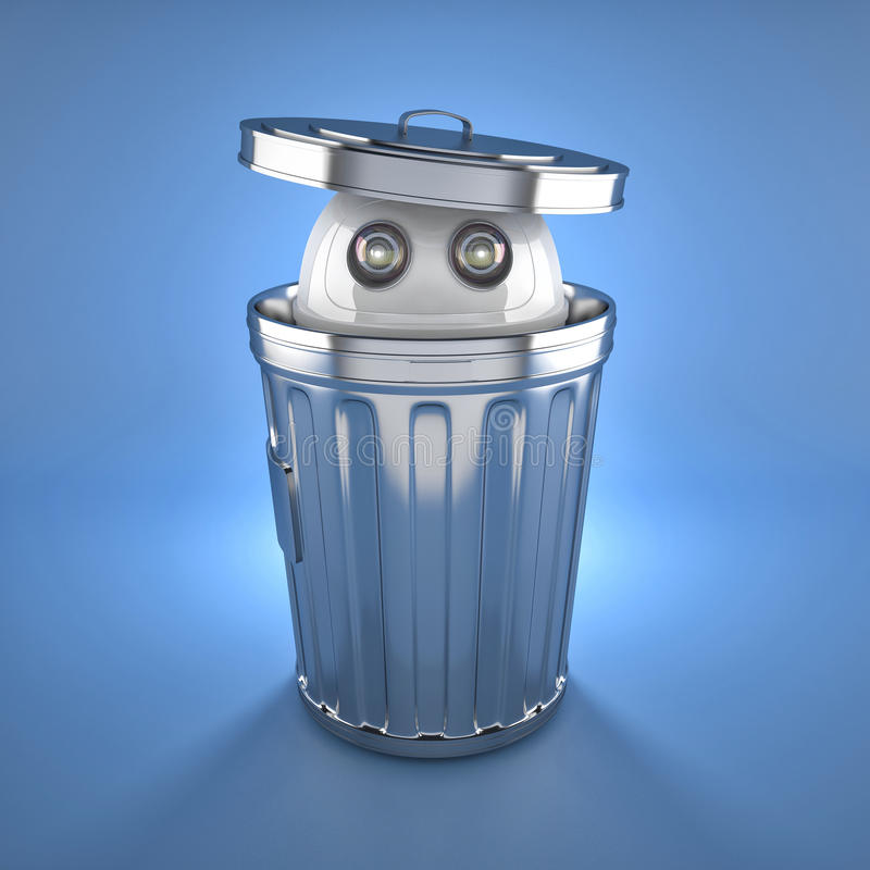 在垃圾桶里面的机器人机器人.