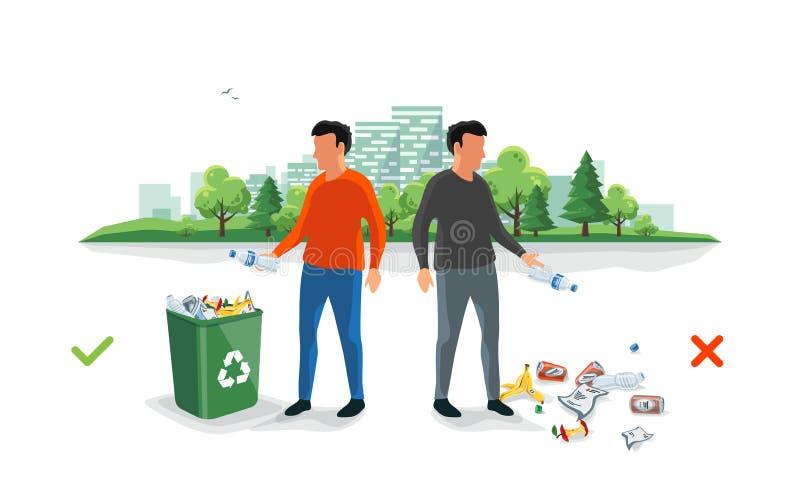 在垃圾桶附近的正确和错误乱丢的垃圾与投掷废的人 皇族释放例证