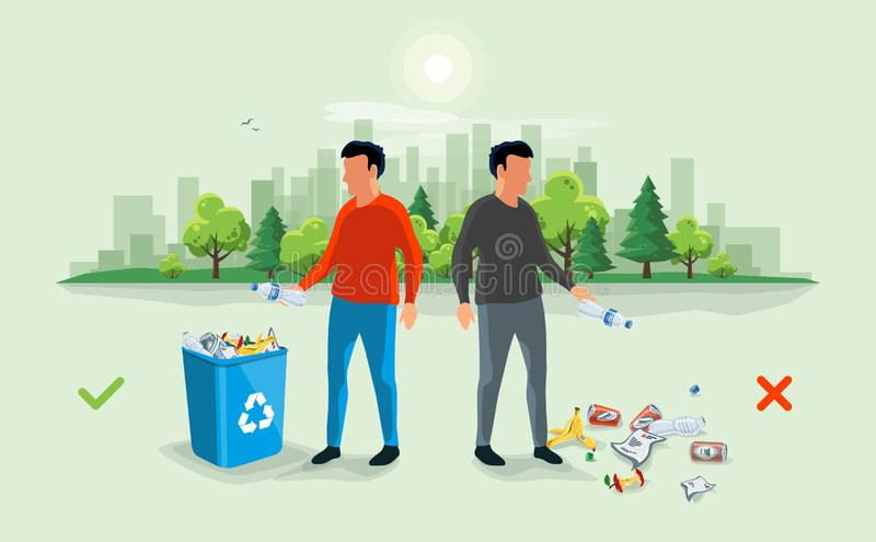 在垃圾桶附近的正确和错误乱丢的垃圾与Pe 向量例证