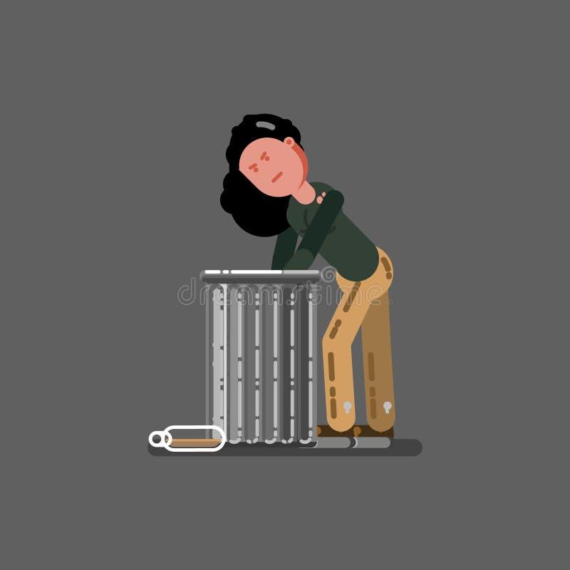 在垃圾的无家可归的女孩开掘 皇族释放例证