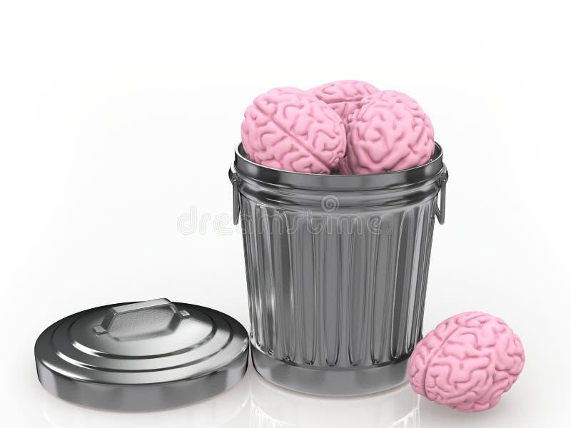在垃圾箱放弃的脑子 向量例证