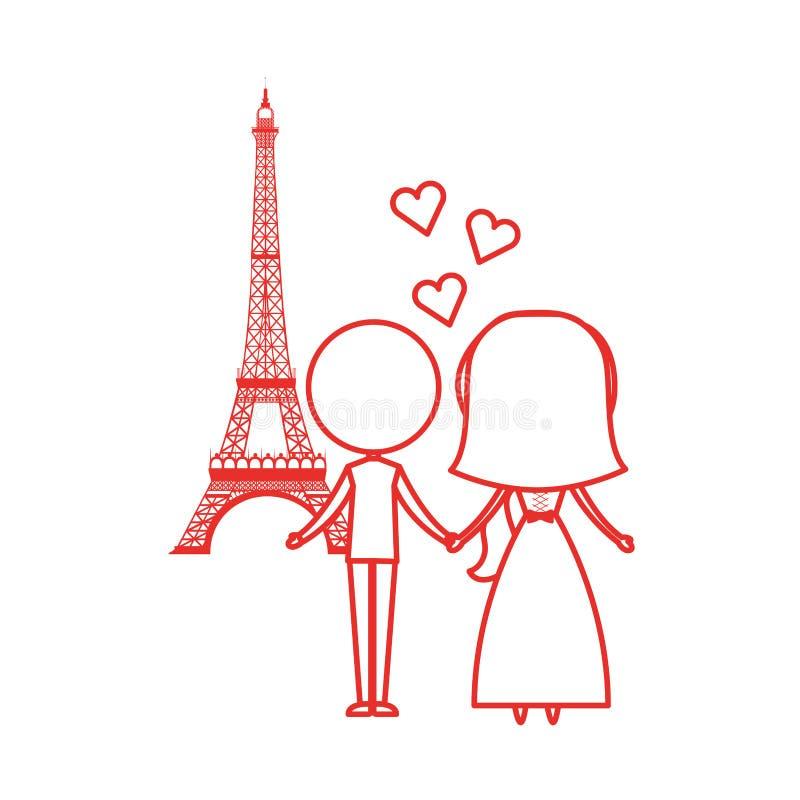 在埃佛尔铁塔具体化字符的已婚夫妇 向量例证