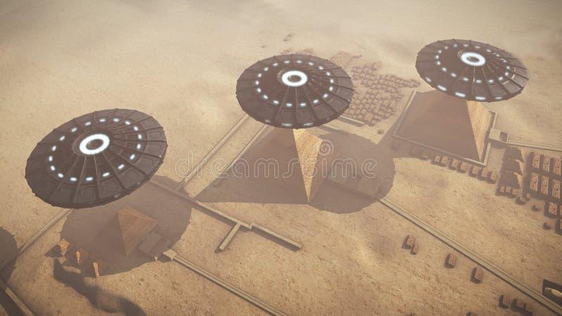 在埃及吉萨棉平台上的UFOs 库存例证