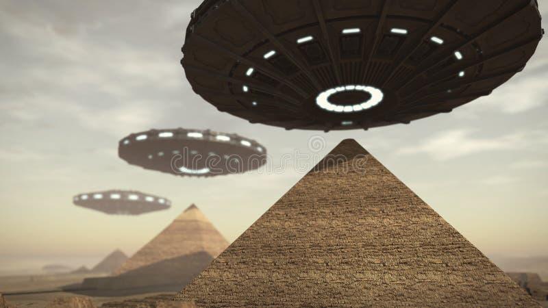 在埃及金字塔上的UFOs 向量例证