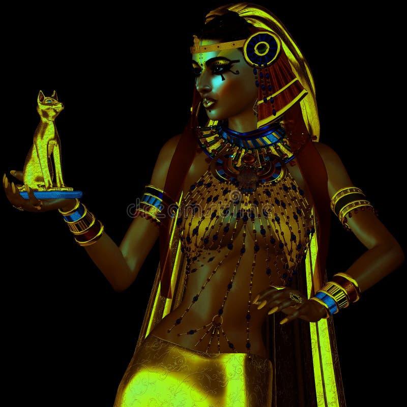 在埃及幻想数字式艺术样式的韧皮描述 皇族释放例证
