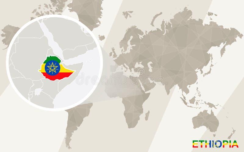 在埃塞俄比亚地图和旗子的徒升 例证映射旧世界 皇族释放例证