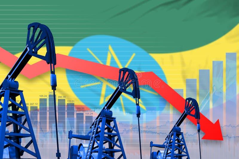 在埃塞俄比亚旗子背景-埃塞俄比亚石油工业或市场概念的工业例证的降低,落图表 3d 向量例证