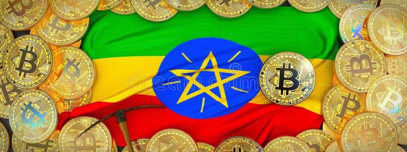 在埃塞俄比亚旗子附近的Bitcoins在左边的金子和镐 3D我 皇族释放例证