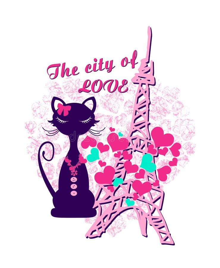 在埃菲尔铁塔前面的猫形象 库存例证