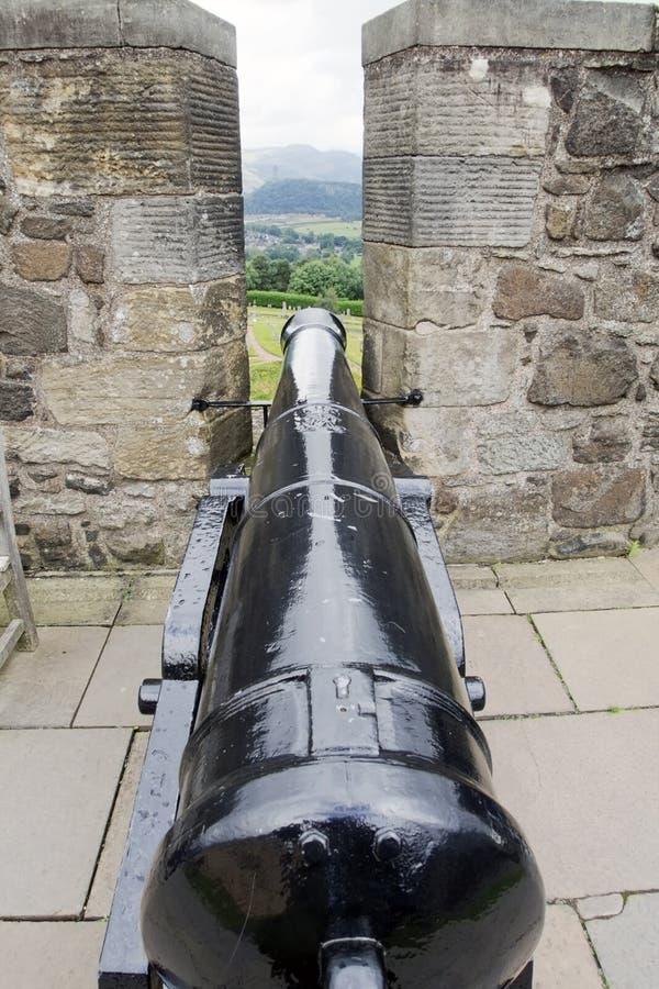 在城堡的城垛的之间大炮 库存图片