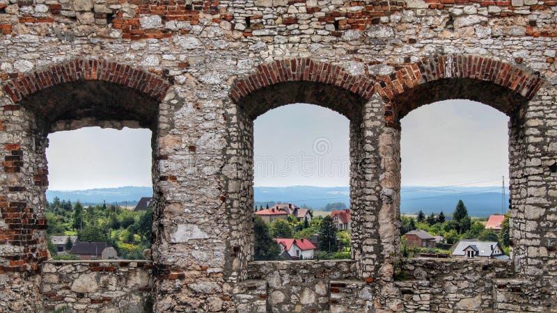 在城堡的Windows 库存照片