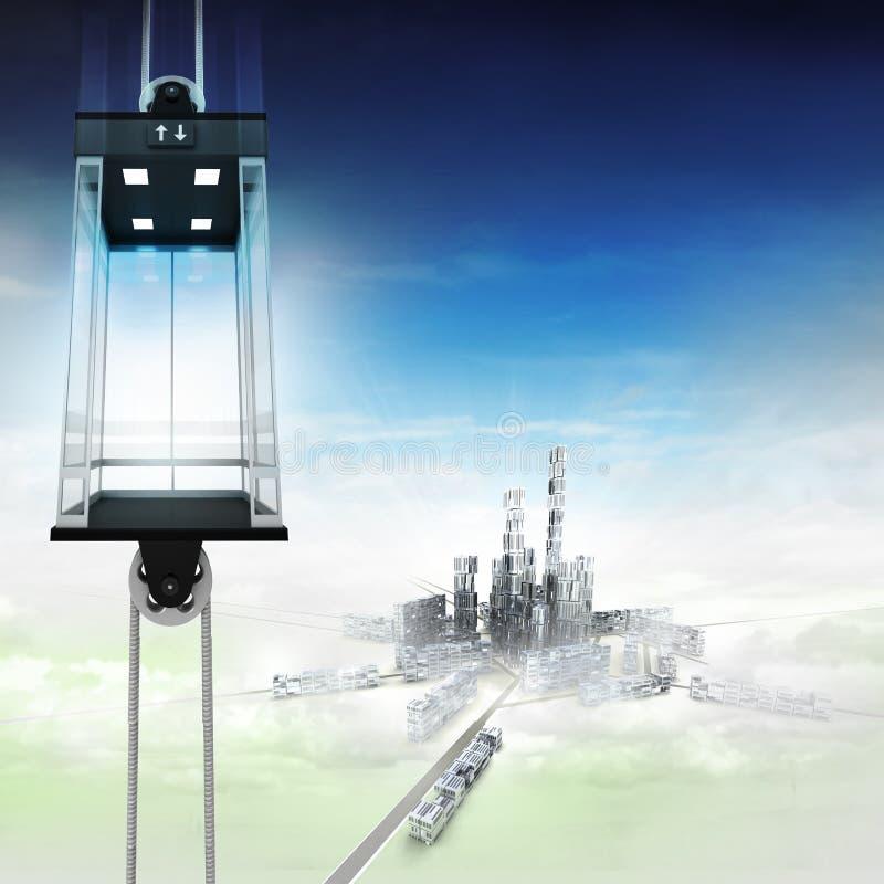 在城市上的空的天空空间电梯概念 皇族释放例证