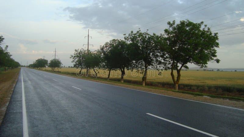 在城市之外的光滑的平直的柏油路在雨以后 免版税库存图片