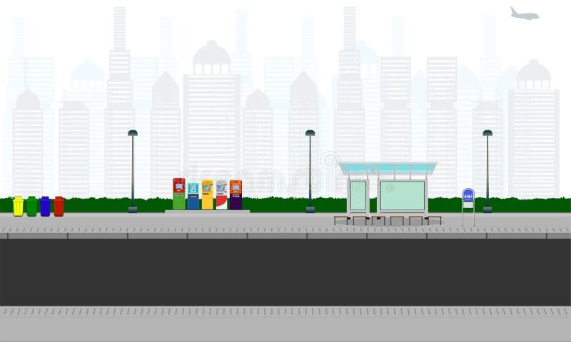 在城市公交车站驻地atm容器杆灯标志水平的传染媒介例证eps10的室外路 向量例证