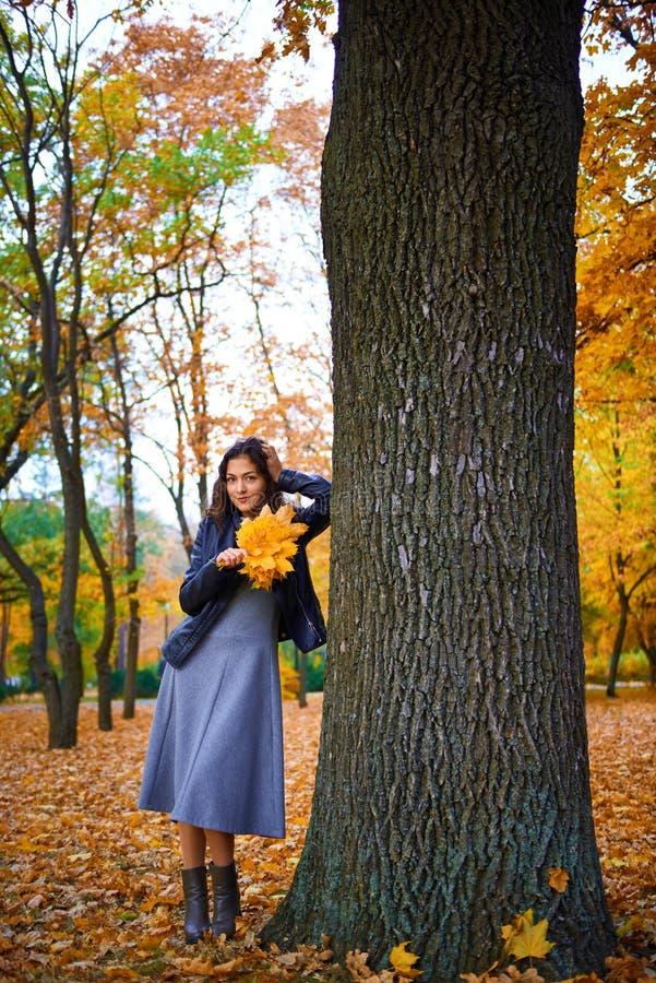 在城市公园里与秋叶一起摆姿势的女人 库存照片