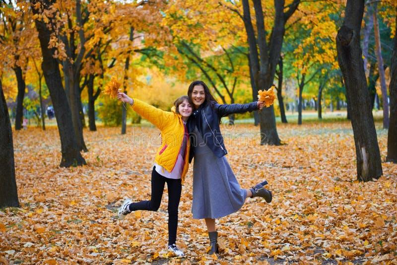 在城市公园里玩秋叶的女人,户外肖像 库存照片