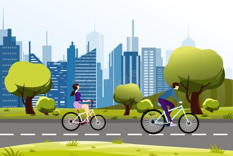 在城市公园附近导航人在自行车的男人和妇女骑马的例证 现代背景的城市 动画片传染媒介 向量例证