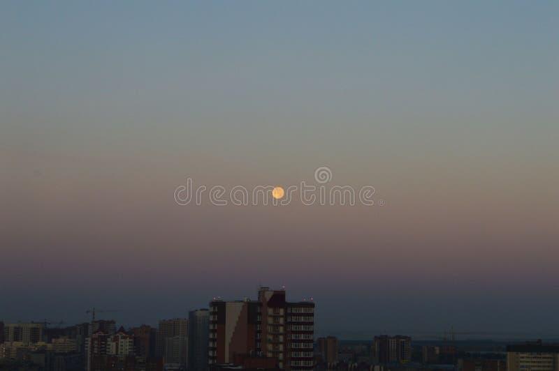 在城市和月亮的清早天空 库存图片