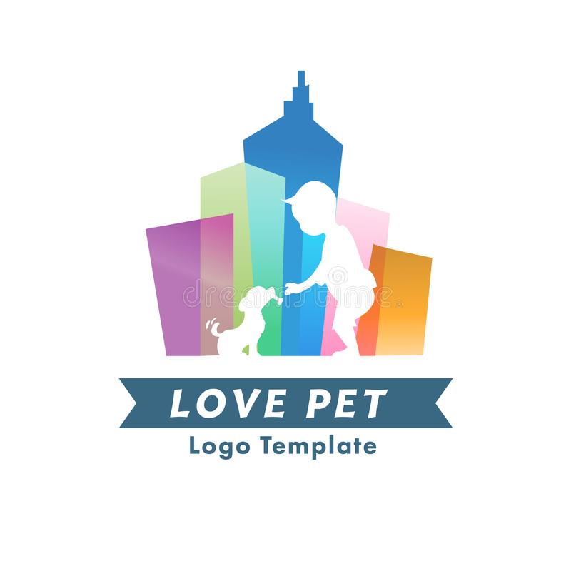 在城市商标的宠物 可爱和无家可归的宠物概念-导航i 库存例证