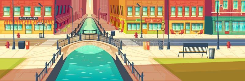 在城市堤防动画片传染媒介的街道咖啡馆 向量例证